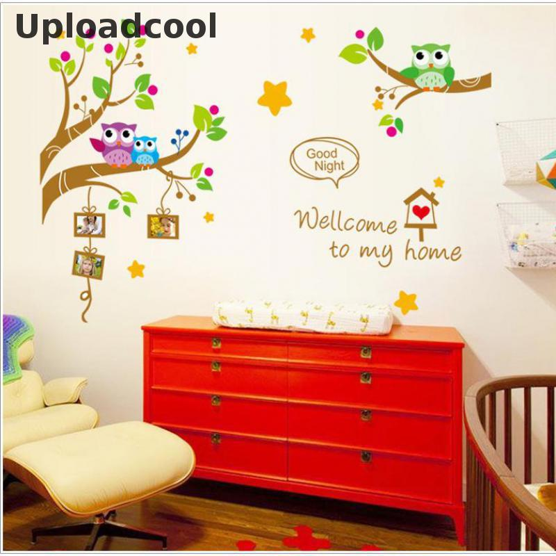 The New Cute Owl Tree Cartoon Decorative Wall Stickers Stickers Kindergarten Children Room Home Decoration Accessories