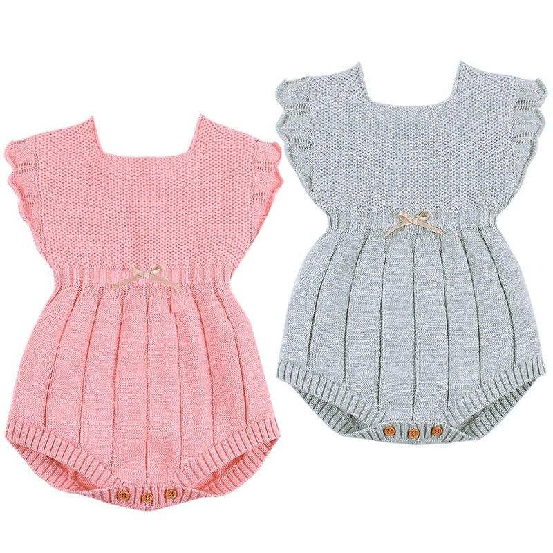 3c79e79a6f563f Neugeborenen baby-spielanzug Kleidung Mode Blume Gestrickte Infant Kinder  Mädchen Ärmellose Outfits Kleinkind Kinder Overall