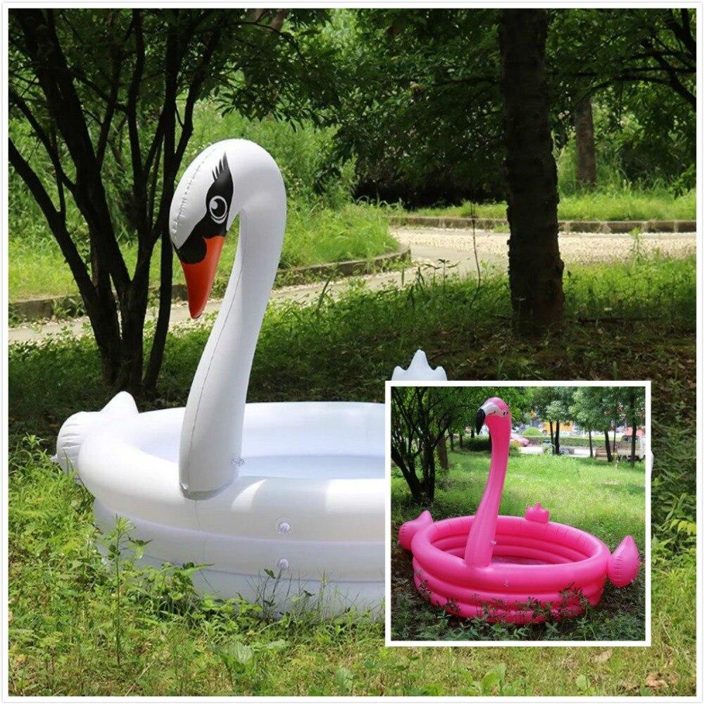 150*150*115 cm Trinuclear géant gonflable Flamingo cygne piscine pour enfants Portable extérieur bassin baignoire eau Fun bain jouet