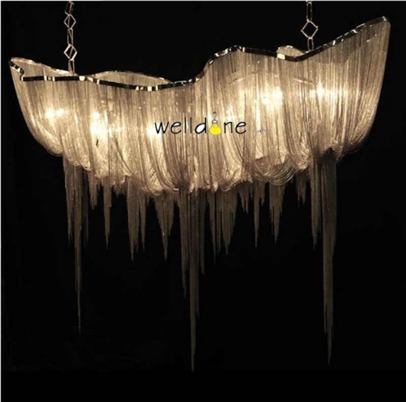Современная гостиная с кисточкой алюминиевый цепной подвесной светильник Креативный светодиодный светильник для внутренней декорации