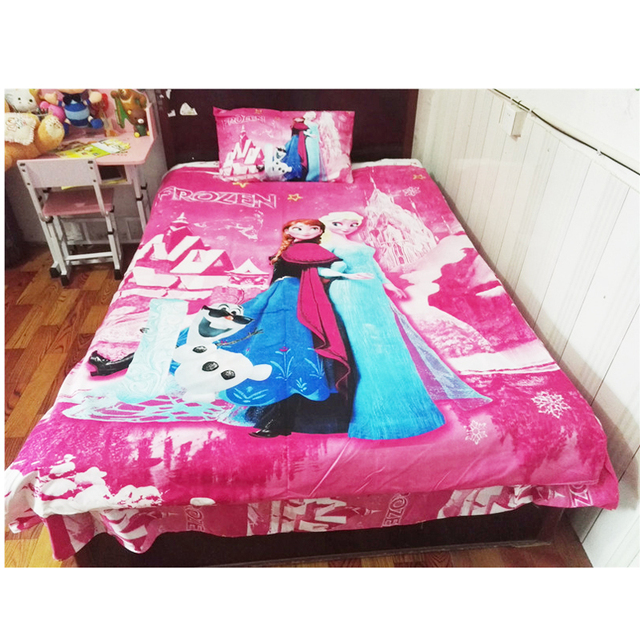 Cartoon Pink Frozen Princess Elsa Anna S Bedding Set Kids Duvet Cover Bedroom Decor
