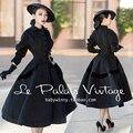 le palais vintage winter women 50s Audrey Hepburn long swing black wool coat rockabilly pinup abrigos mujer plus size 4xl jacket