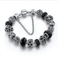 Szelam 2017 New Crystal Beads Bracelets Bangles Silver Plated Charm Bracelets For Women Friendship Pulseras SBR160014