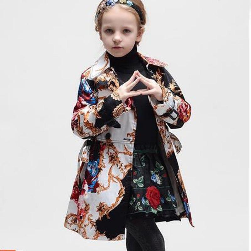 2016 Brand New Girls Jackets Coats Totem Pattern Children Jackets Kids Winter Coat Girls Outerwear Windbreaker