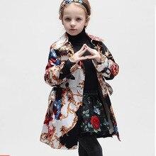2016 новое девушки куртки и пальто тотем рисунок дети куртки дети зимнее пальто верхняя одежда ветровка детей пальто