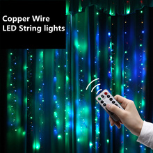 3x2m USB remote control Icicle String Lights christmas Fairy Decoration Waterproof LED Copper Wire lights