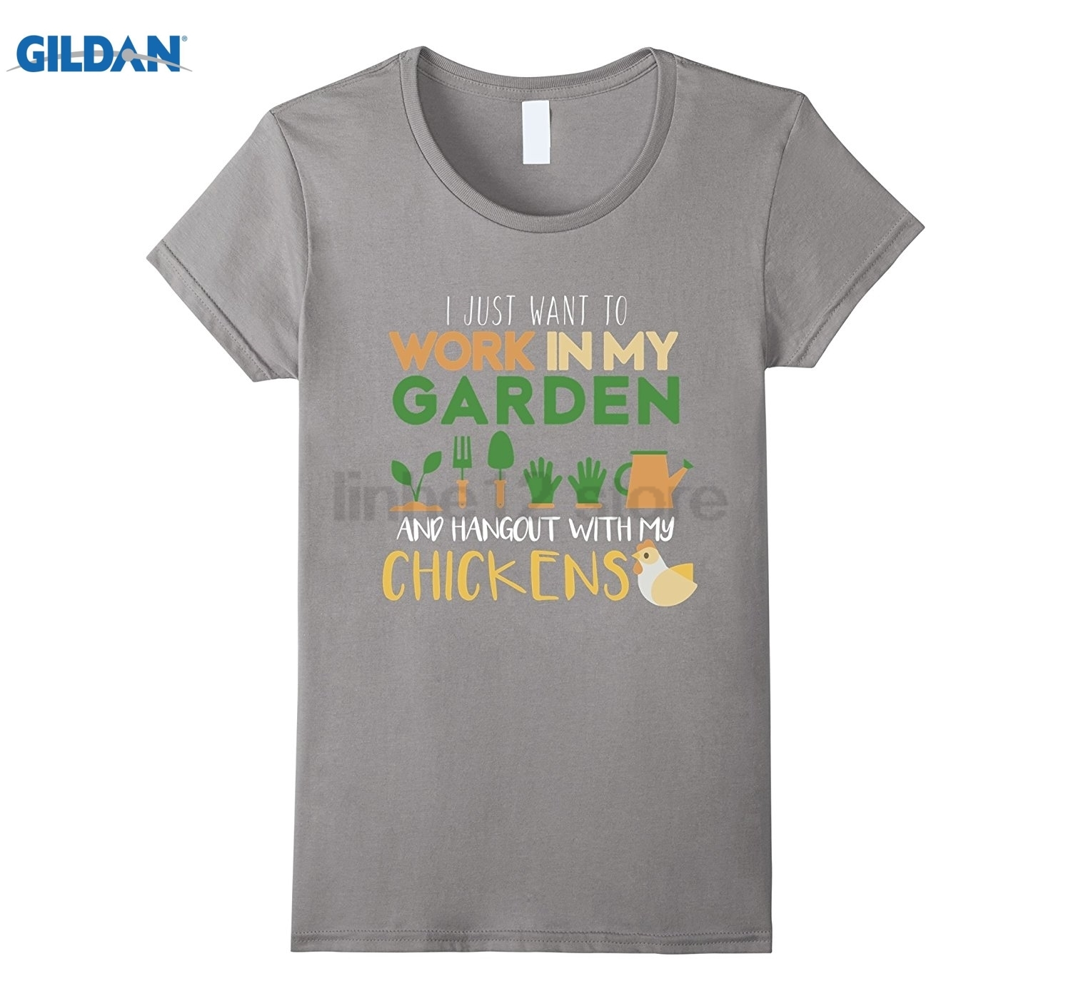 GILDAN Work In My Garden Hangout With My Chickens T-Shirt Gardening Womens T-shirt ...