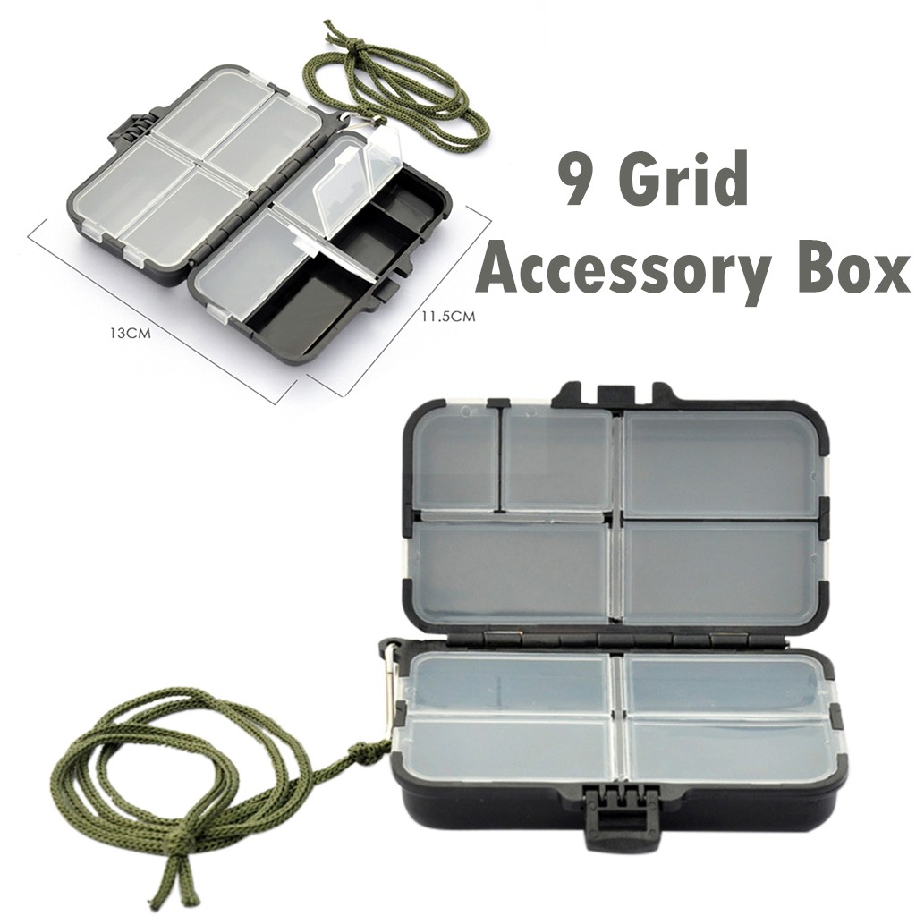 Portable 9 Grid Fishing Gear Box Bait Hook Storage Small Box Hook Box Fishing Accessories storing swivels hooks lures Durable