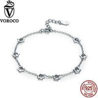 VOROCO 2017 Genuine 925 Sterling Silver Stars Chain Link Adjustable Charm Bracelets Silver for Women Fine Jewelry VSB003