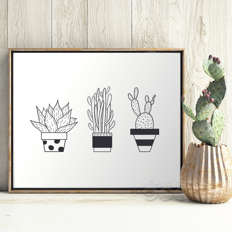 Pot Plant Canvas Art Print Poster, Wall Pictures For Home