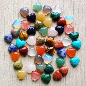 Image 3 - 2017 새로운 최고 품질 모듬 된 천연 돌 심장 모양 cab 카보 숑 비즈 보석 만들기 10mm 도매 50 개/몫 무료