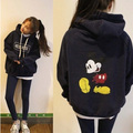 Womens winter thick hoodies Casual Long sleeve o-neck sweatshirt Cartoon Mickey Pullover Hooded coat