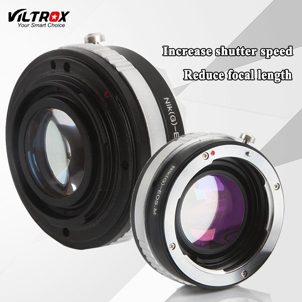 Viltrox Réducteur Vitesse Booster Lens Adapter Tube Anneau Pour Nikon AI AIS F G Lens pour Canon EF-M EOS-M M1 M2 M3 M5 Caméra