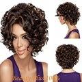 Модные женские Glueless Природный Короткие Вьющиеся Волосы Парика Жаропрочных Волокна Парик Темно Короткий Парик Волос для Афро-Американских