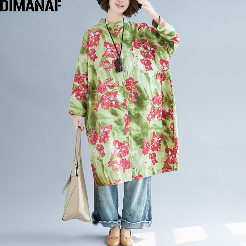 DIMANAF Plus Size Women   Blouse     Shirts   Linen Lady Tops Tunic Summer Female Clothing Print Floral Loose Casual Big Sizes 5XL 6XL