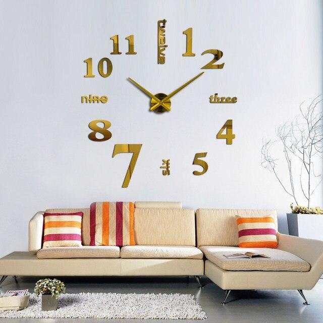 2016 New Arrival Quartz Clocks Fashion Watches 3d Real Big Wall Clock Rushed Mirror Sticker Diy Living Room Decor Free Shipping