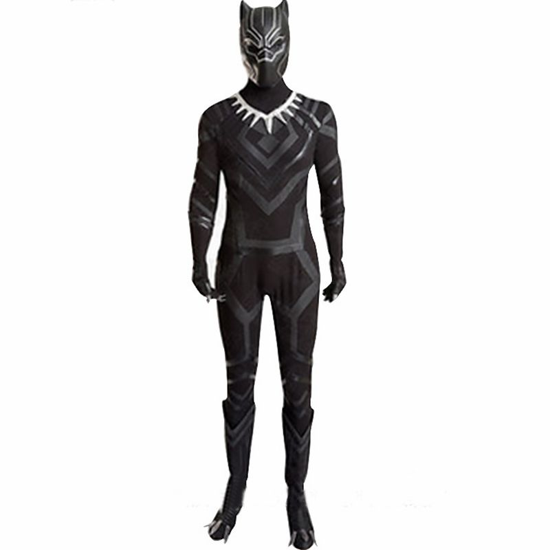2018 Black Panther Cosplay Costume adult Carnival Halloween costume Superhero Black Panther jumpsuit mask black suit costumes