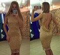 Shiny Gold Sequin Sheath Column Backless Knee Length Cocktail Dress Sex Party Dress Vestidos De Festa Curtos Noite