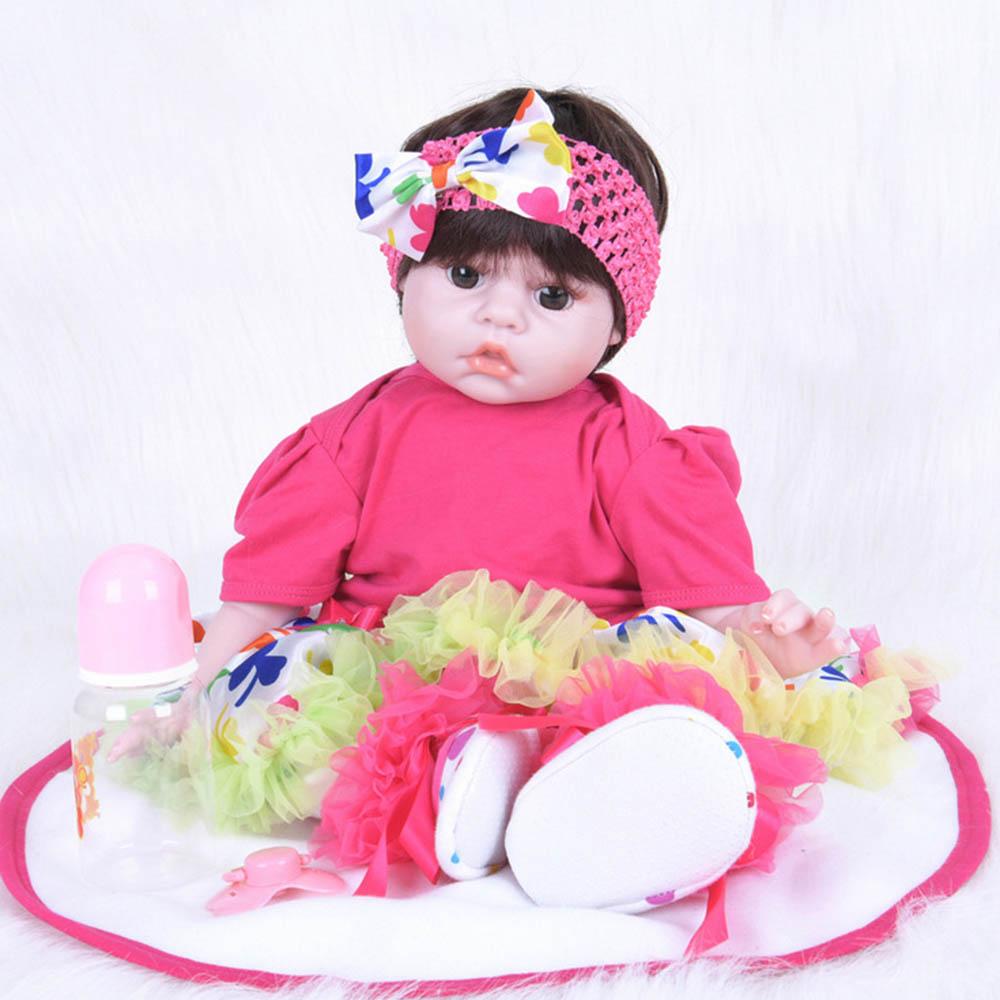все цены на 50cm Silicone Soft Realistic Reborn Baby Doll Lifelike Girl Newborn Babies with Cloth Body Toy for Kids Birthday Xmas Gift