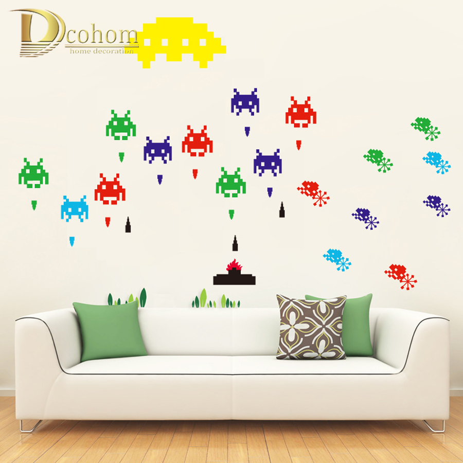 popular window space wall mural buy cheap window space wall mural pixels space invaders cartoon wall stickers for kids rooms home decor removable game theme poster wallpaper