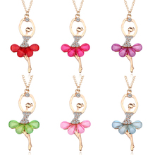 2019 New Fashion Multicolor Crystal Ballet Girl Pendant Necklace Acrylic Gold Fairy Princess Chain Jewelry