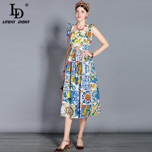 Image 2 - LD LINDA DELLA Fashion vestido Midi de algodón para mujer, vestido con lazo y tirantes finos, con hermosa estampado Floral