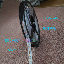 5 м dc12v/24 В rgbww цветов в 1 светодиодный чип smd 5050 Гибкий