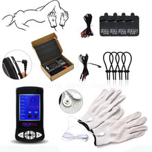 New Electro Shock Glove Massage Penis Rings Stimulate Kit Electro Shock Massage Pad Adult Sex Toys For Men Couples