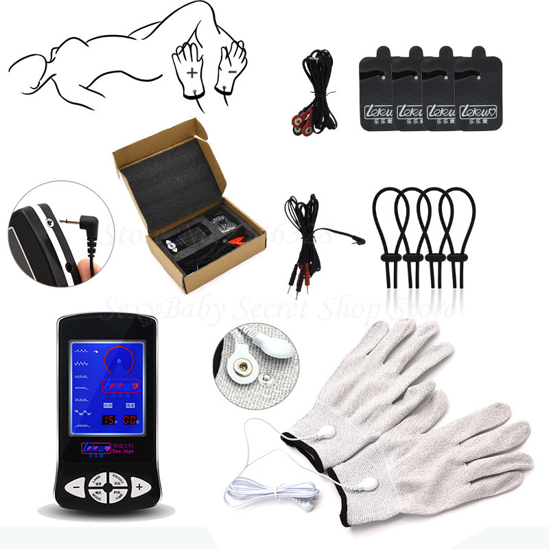 New Electro Shock Glove Massage Penis Rings Stimulate Medical Themed Toys Kit Electro Shock Massage Pad Sex Toys For Men Couples hot electric shock medical themed toys kit penis rings massage pad anal butt vagina plug electro shock sex toys for men couples