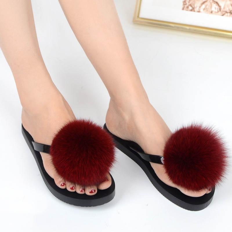 women slippers fox fur pompom (9)