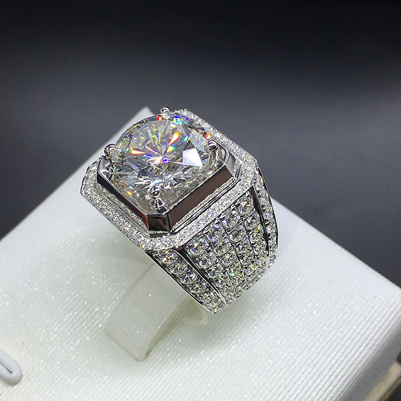Size 8 13 Hot Sparkling Jewelry 925 Sterling Silver Full Round Cut 5A Cubic Zirconia CZ Women Wedding Men Band Pave Ring Gift-in Rings from Jewelry & Accessories    1