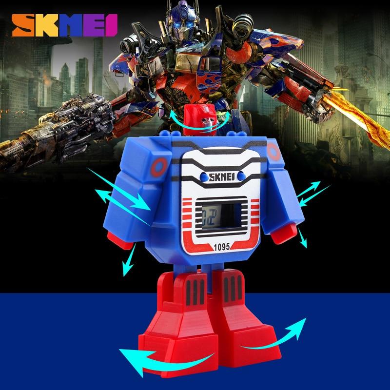 SKMEI 1095 Kids LED Digital Children Watch Cartoon Sports Watches Relogio Robot Transformation Toys Boys Wristwatches аккумулятор паз автомобильный подольские 6ст 62 62 а ч