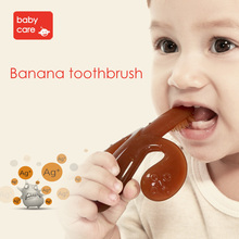 Babycare Baby Teether Children Teeth Training Brush With 2 Color Ag Silicone Safety Materials Set With Bowl