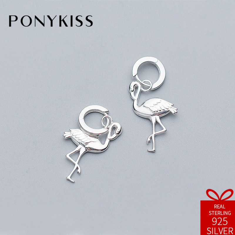 PONYKISS Romantic 100% 925 Sterling Silver Chic Flamingo Hoop Earrings Women Fine Jewelry Accessory Birthday Party Lover Gift