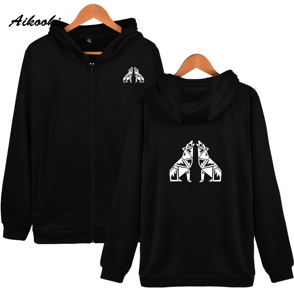 Aikooki New Wolf Zipper hoodies men/women Print This is the word High Quality Hoodies Zipper men/women Sweatshirt Clothe Fashion