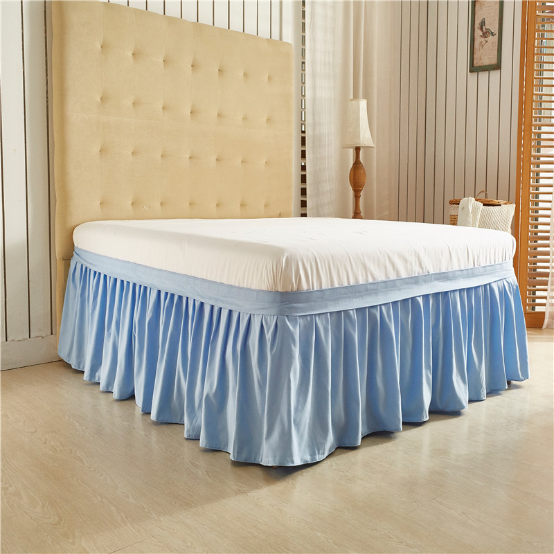 Light Blue Solid Color  Etc Elastic Bed Wrap Ruffle Bed Skirt, US  Twin Queen/King, Size Polyester Fabric Soft