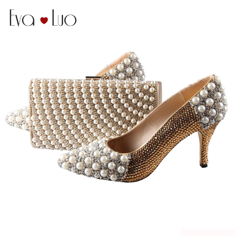 BS007 Custom Made Pointed Toe Gold Rhinestones Italian Shoes With Matching Bag Set Bridal Wedding Shoes