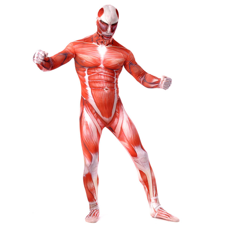 Bertolt Hoover Titans Muscle Muscular Suit Bodysuit Attack On Men Cosplay Costume For Adult Kids Zentai Halloween Birthday Gift