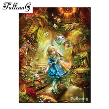 FULLCANG Cartoon girl mosaic painting diy diamond painting cross stitch full square diamond embroidery cartoon people E483