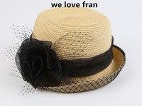 2017新しいファッション女性わら太陽の帽子で花ため夏ビーチA1-A6
