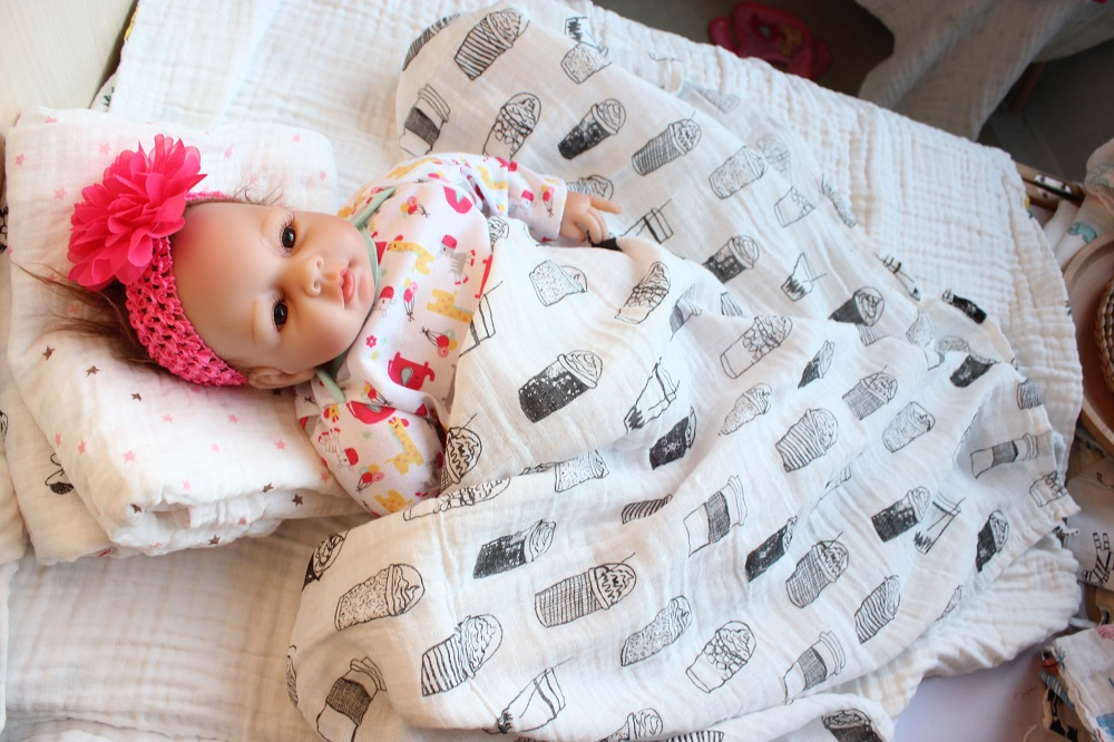 Baby Baby Swaddle Goede Ademend Pasgeboren Mousseline Deken & - Beddegoed - Foto 2
