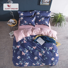 SlowDream Nordic Bedding Set Flowers Pattern Bedspread Duvet Cover 3/4PCS Pink Pastel Underwear Bed Flat Sheet Linen
