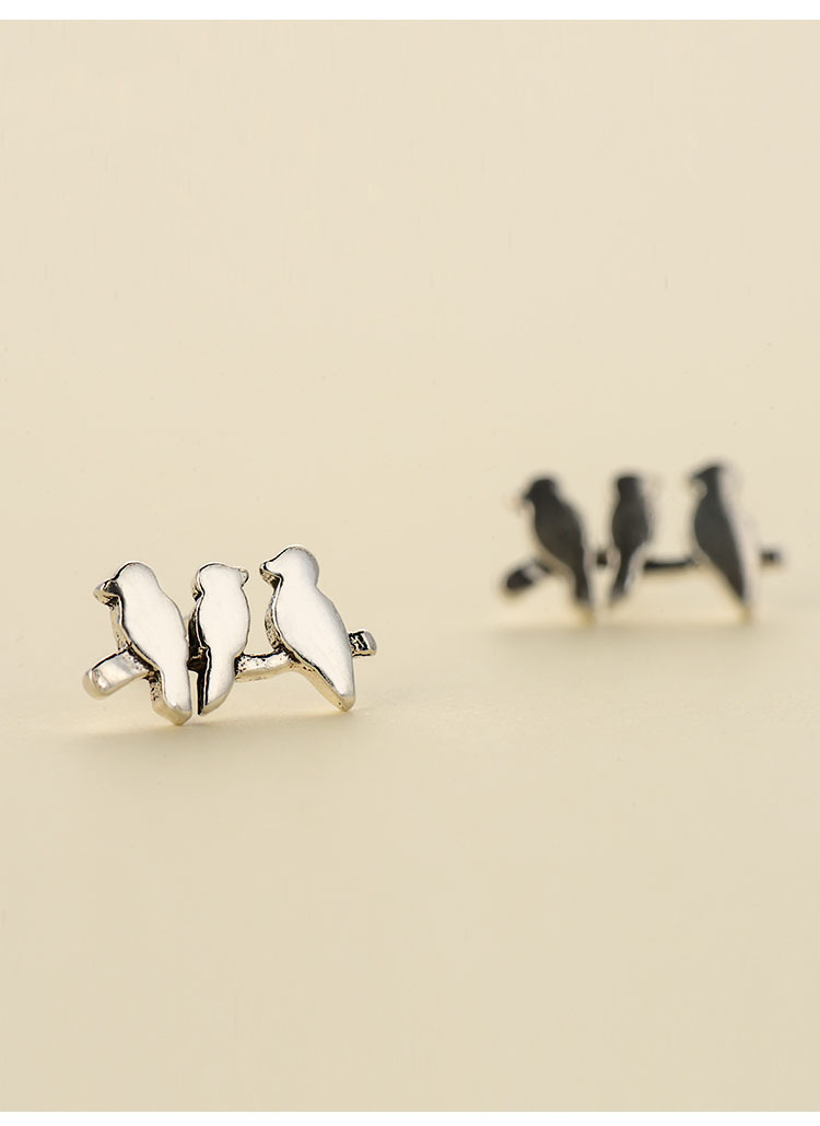 geekoplanet.com - 925 Sterling Silver Cute 3 Birdies Shape Stud Earrings