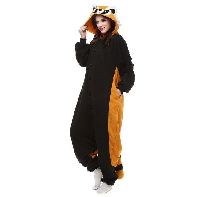 Взрослый флис кигуруми енот Косплей Костюм животных Onesie пижамы Хэллоуин  Карнавал мавечерние скарад партия комбинезон одежда e41c35d69f4d7