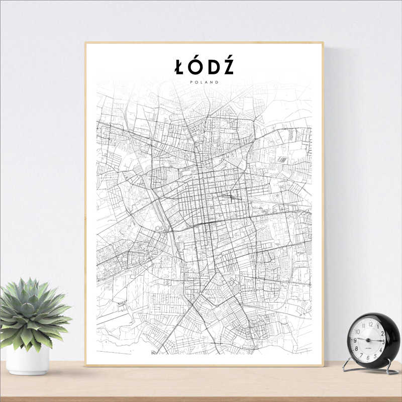 Poland City Map Lodz Poster Canvas Art Painting, Poland Lodz City Street Road Map Prints Modern Wall Picture For Home Decor