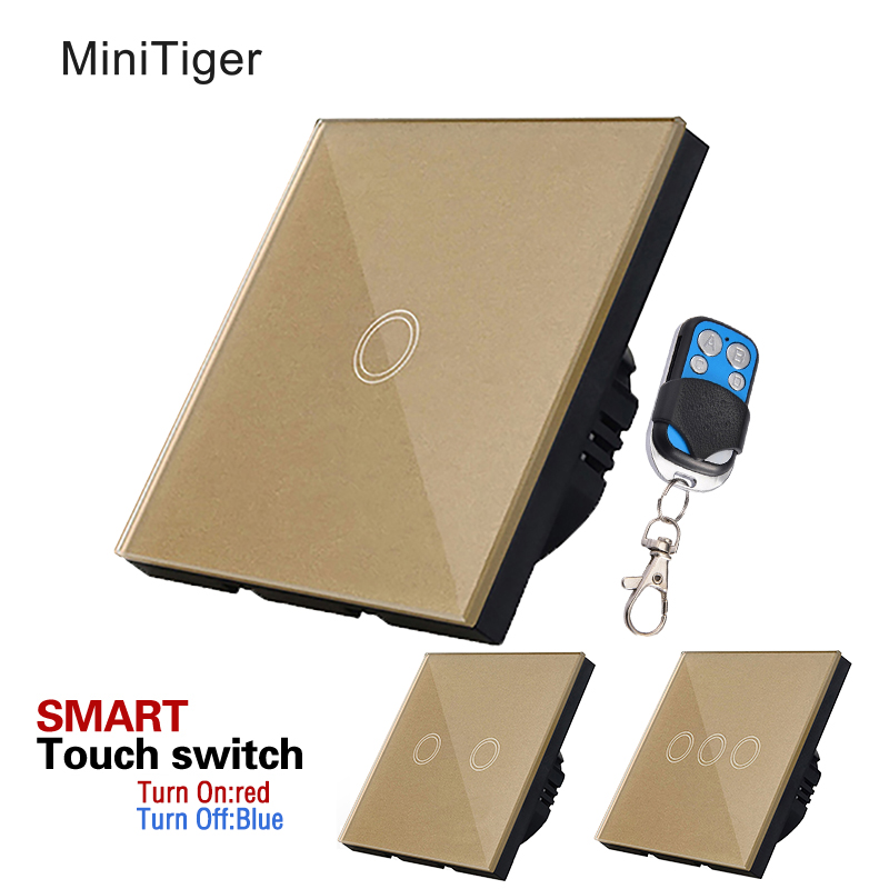 Free Shipping,MiniTiger EU Standard Touch Switch 1/2/3 Gang 1 Way,Crystal Glass Switch Panel,Wall Light Touch Screen Switch touch switch eu standard wall switch 2 way control switch glass panel wall light touch screen switch kt001deu