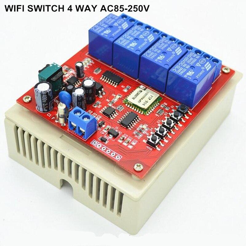 imágenes para Interruptor Interruptor de la Luz Wifi caliente 4 Way 110 V 220 V 250 V AC 10A Control por Teléfono wi-fi APP Para Domotica Premio telecommande