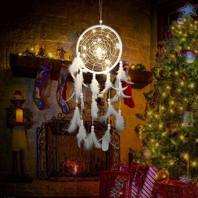 Dream Catcher Room Decoration Dreamcatcher Vintage Wall Hangings Handmade Feathers Night Light Hanging