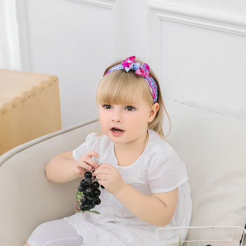 Cute Girl Hair Accessories Bohemian Children Wide-brimmed Headband Nylon Printed Bow Baby Soft Hair Bands(China)