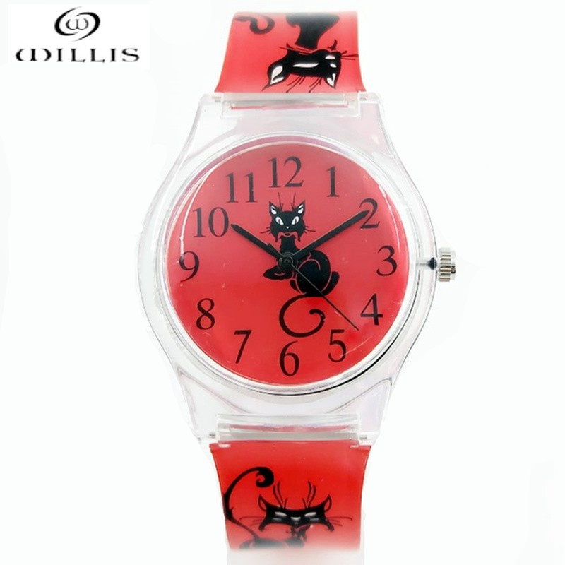 все цены на Women Brand Quartz WILLIS Fashionable Watches Cat Design Water Resistant Analog Ultrathin Silicone Band waterproof WristWatches